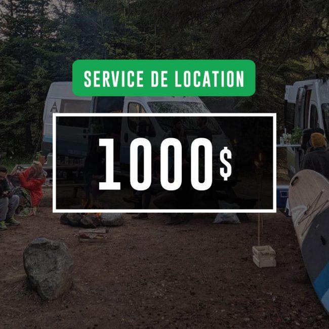 Certificat-cadeau de 1000$ : Service de location VanLife MTL